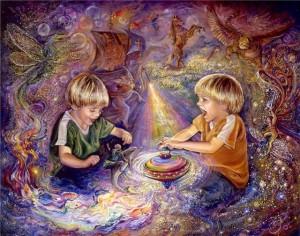 мальчик фантазирует, играя с юлой