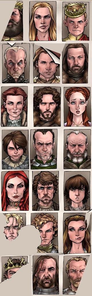 Главные герои Игры престолов - портреты.