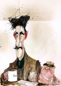 Джордж Оруэлл карикатура